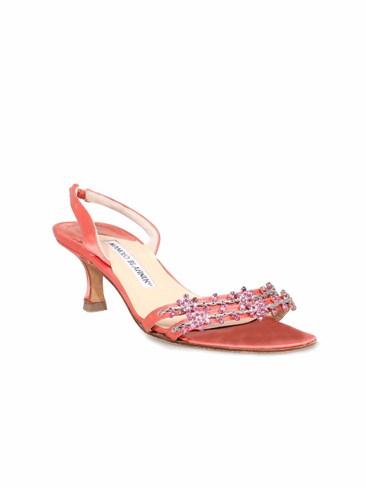MANOLO BLAHNIK Embellished Embellished Embellished Satin Sandals 6b8a21