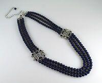 Lia Sophia Lens Flare Blue Beaded Three Strand Rhinestone Necklace