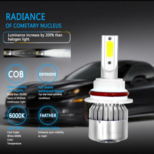 9007 HB5 6000K Super White LED Headlight Bulbs High Low Beam Conversion Kit Pair