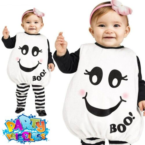 Toddler Baby Boo Ghost Tunic Costume Cute Halloween Fancy Dress Outfit