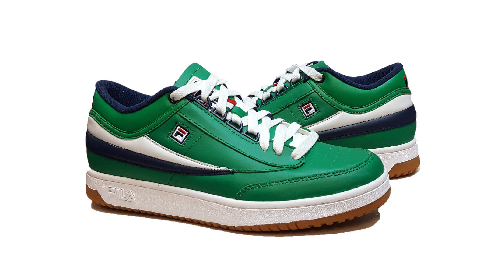 FILA Men's T-1 Mid Top (Green White Navy) Fashion Sneakers
