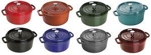 Staub-Cast-Iron-4-qt-Round-Cocotte-Cooking-Pot-8-COLOR-CHOICE-NEW