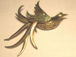 Vintage-Large-Swallow-Rhinestone-Brooch-Gold-Tone-1940-039-s-1950-039-s-3-5-034