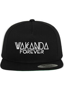 san francisco 8f01c a61cd Image is loading Wakanda-Forever-Black-Panther-Custom-Snapback-Hat-New-