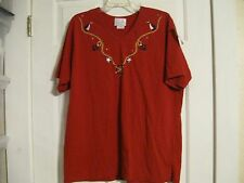 knit top t-shirt red sailboat anchor star mix & max woman 18W/20W 60% cotton