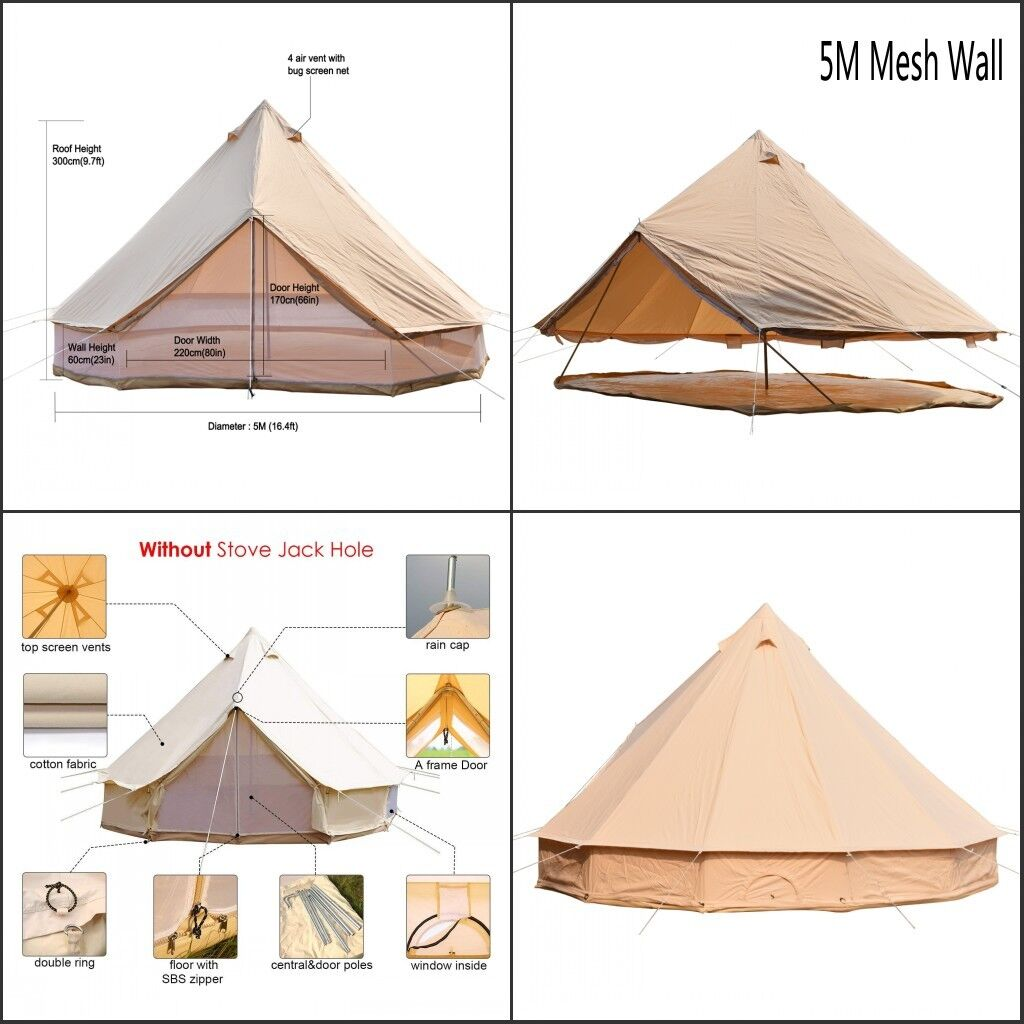 5M 360°Mesh Wall Cotton Canvas Bell Tent Waterproof Glamping Safari Outdoor Yurt