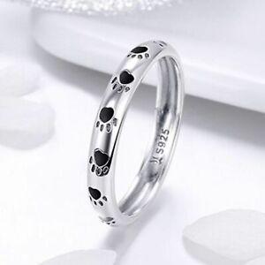 Ladies-925-Sterling-Silver-Animal-Lovers-Dog-Paw-Printed-Ring-UK