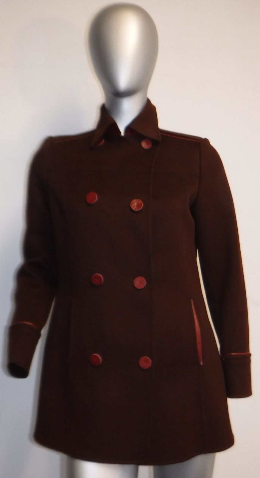 COLOMBO brown cashmere fleece double breasted coat w  burgundy leather SZ 8