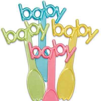 NEW BABY SHOWER SPOON/FORK CUPCAKE PICKS (12)