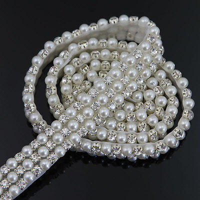 DIY Craft Rhinestone Faux Pearl Applique Bridal Dress Belt Sash Trim 1 yards