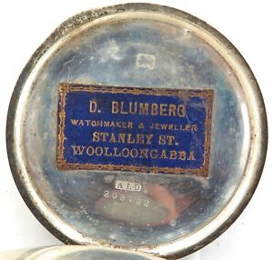 RARE-WOOLLOONGABBA-QLD-D-BLUMBERG-JEWELLER-STERLING-SILVER-POCKET-WATCH-CASE