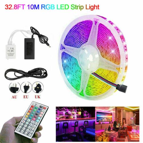 15M//10M//5M RGB LED Strip Light 3528 SMD 44 Key Remote 12V DC Power Full Kit tape