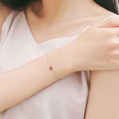 Charme Bijoux Cadeaux Peach Heart Coeur Rouge Bracelet Pendentif Plaqué Argent