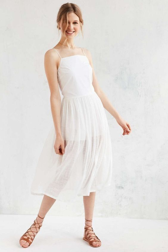 New UO Objects Without Meaning White Ripple Midi Dress Gauzy XS XSMALL 0 2 sheer