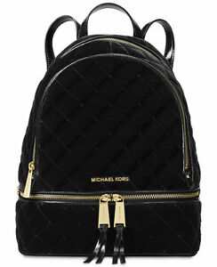 25a219c0b046 NWT MICHAEL Michael Kors Rhea Medium Black Velvet & Leather Backpack ...