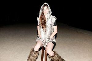 Faux Fur Vest with Cloak Hood for Burning Festival Man