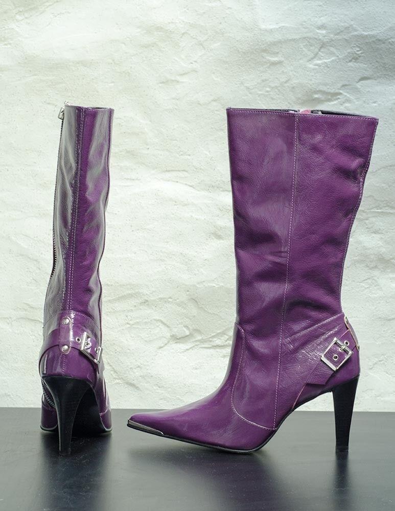 Club Stiefel Lackleder get Violet mit Metall Lets get Lackleder clubbing a8a663