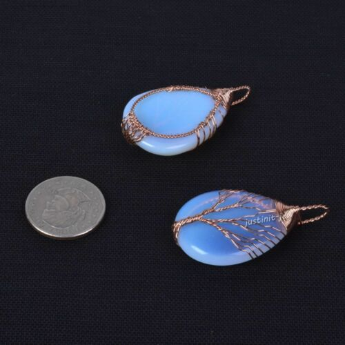 Gemstone Crystal Healing Copper Wire Wrapped Tree of Life Teardrop Focal Pendant