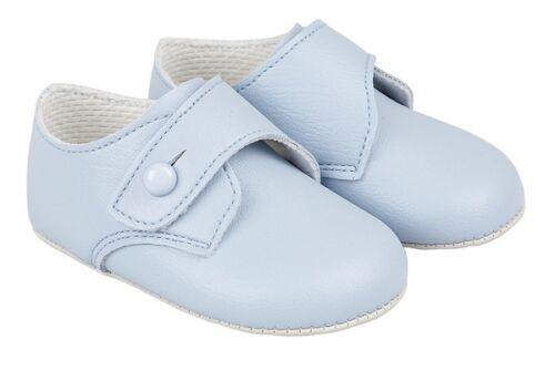 BABY BOYS BAYPODS SOFT PRAM SHOES BAY PODS BLUE-CREAM-WHITE PATENT-MATT REBORN