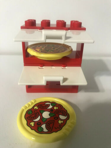 Lego Duplo Pizza Oven Pizzas Cabinets House Brick Decorated Plates Lot Set   NEW