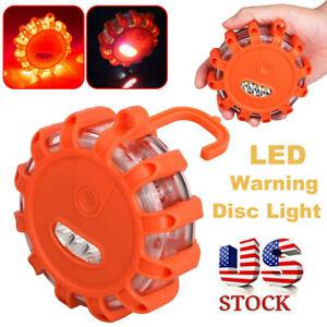 1/3Pcs 3 LED Safety Flare Emergency Warning Disc Light Flashing Roadside Beacon