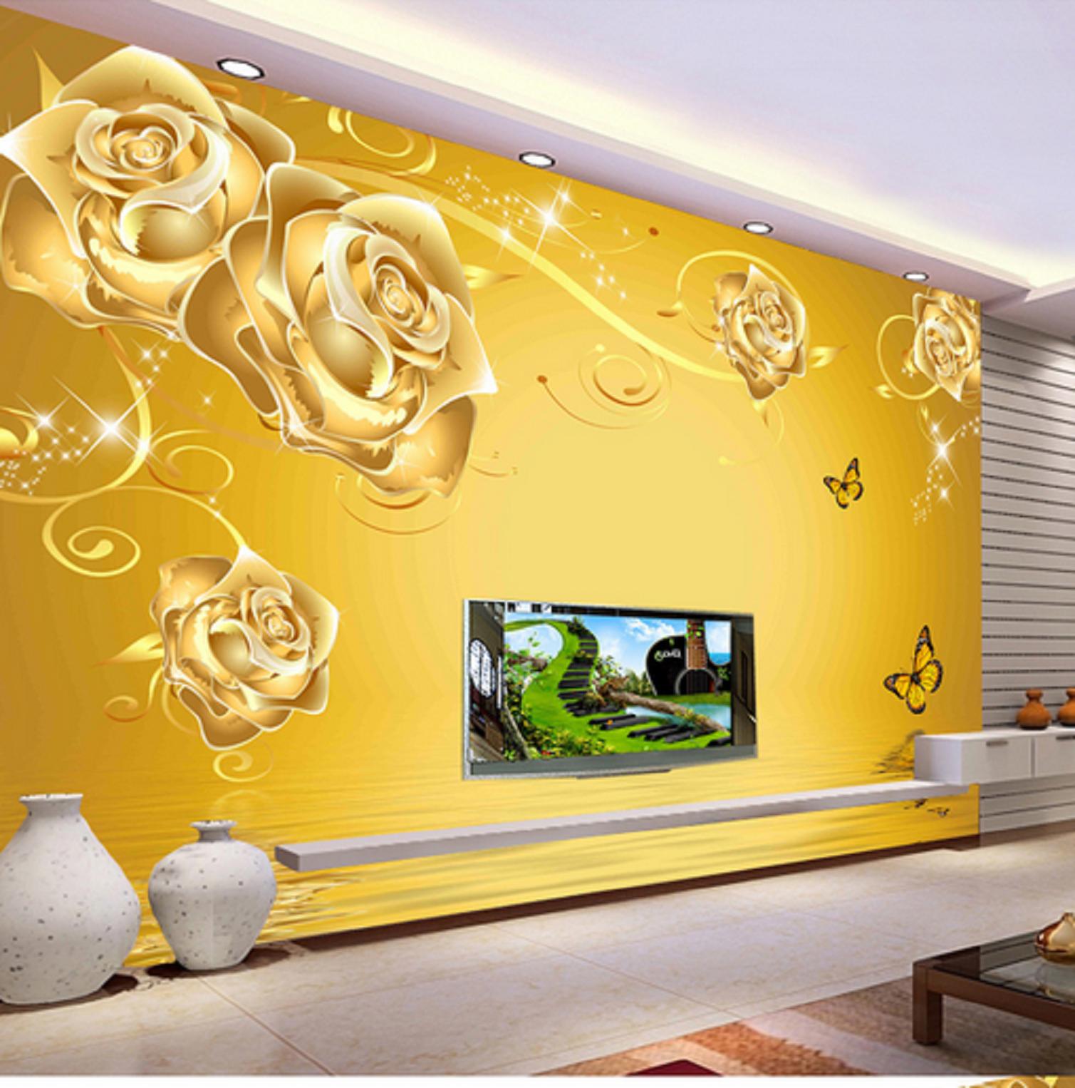 3D Luxuriöse Goldene Rose 45 Tapete Tapete Mauer Foto Familie Tapete Wandgemälde