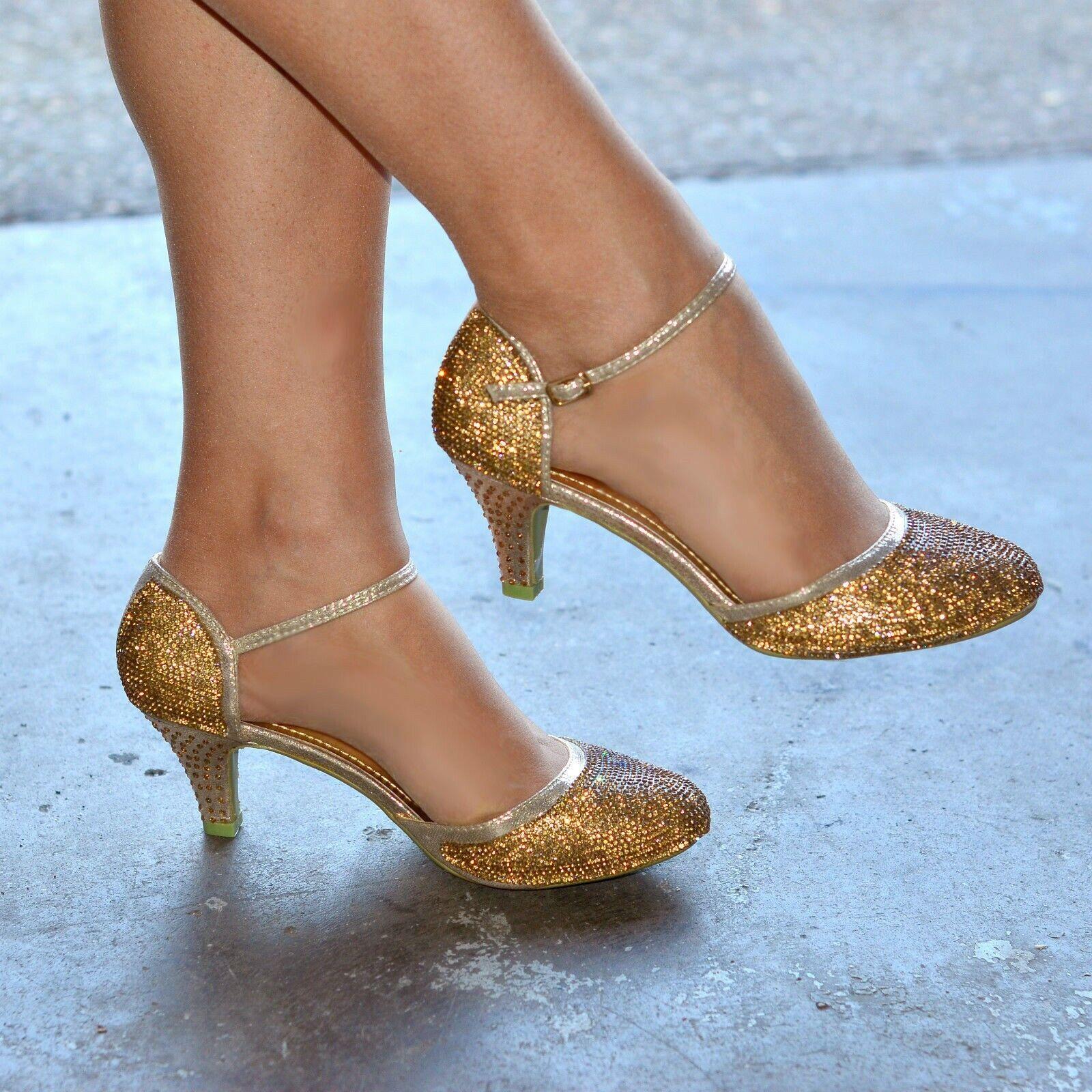 Ladies Diamante Low Heel Ankle Strap Sandals Jive Dancing Shoes GOLD size 3
