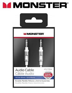 Monster-High-Quality-Audio-Aux-Cable-3-5mm-Jack-To-Jack-White-Silver-4ft-1-2m