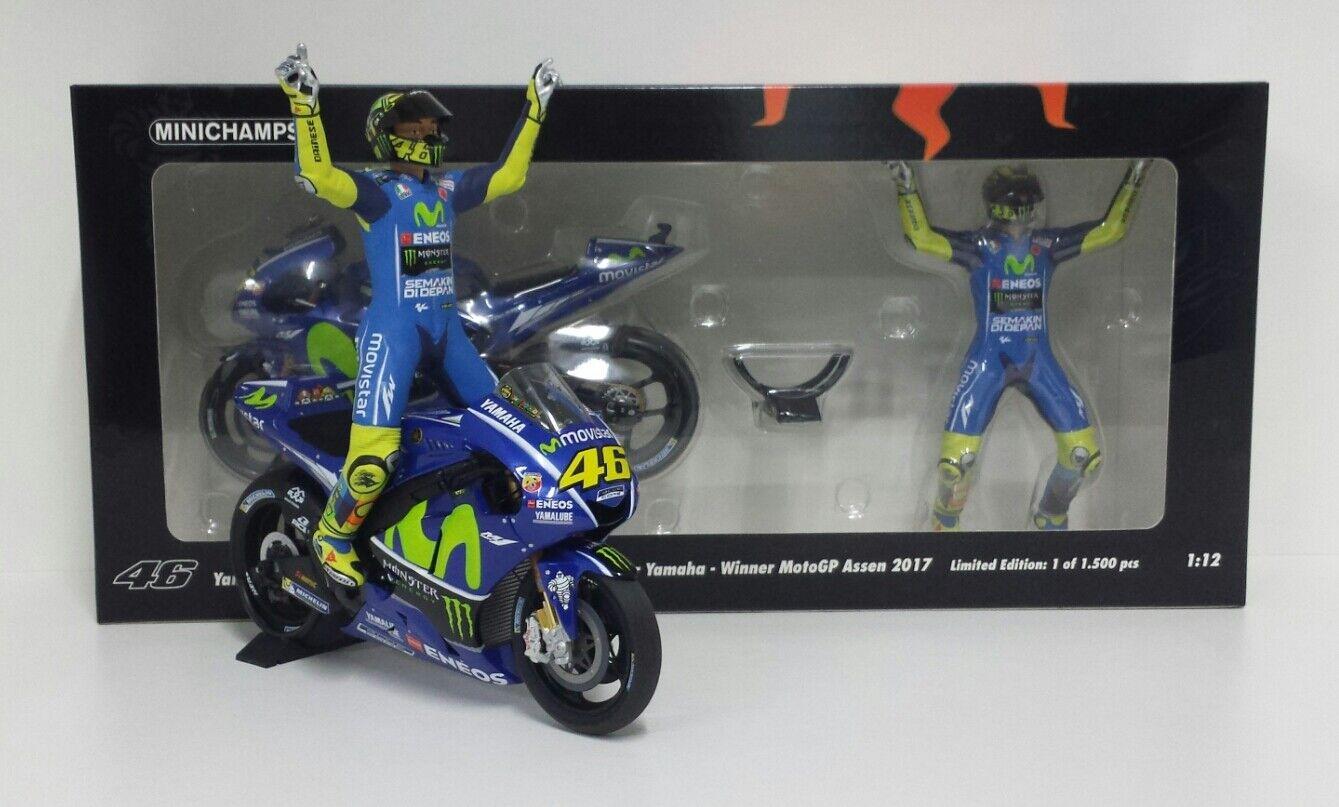 MINICHAMPS VALENTINO ROSSI 1 12 SET YAMAHA + FIGURA WINNER GP ASSEN 2017 MOTOGP