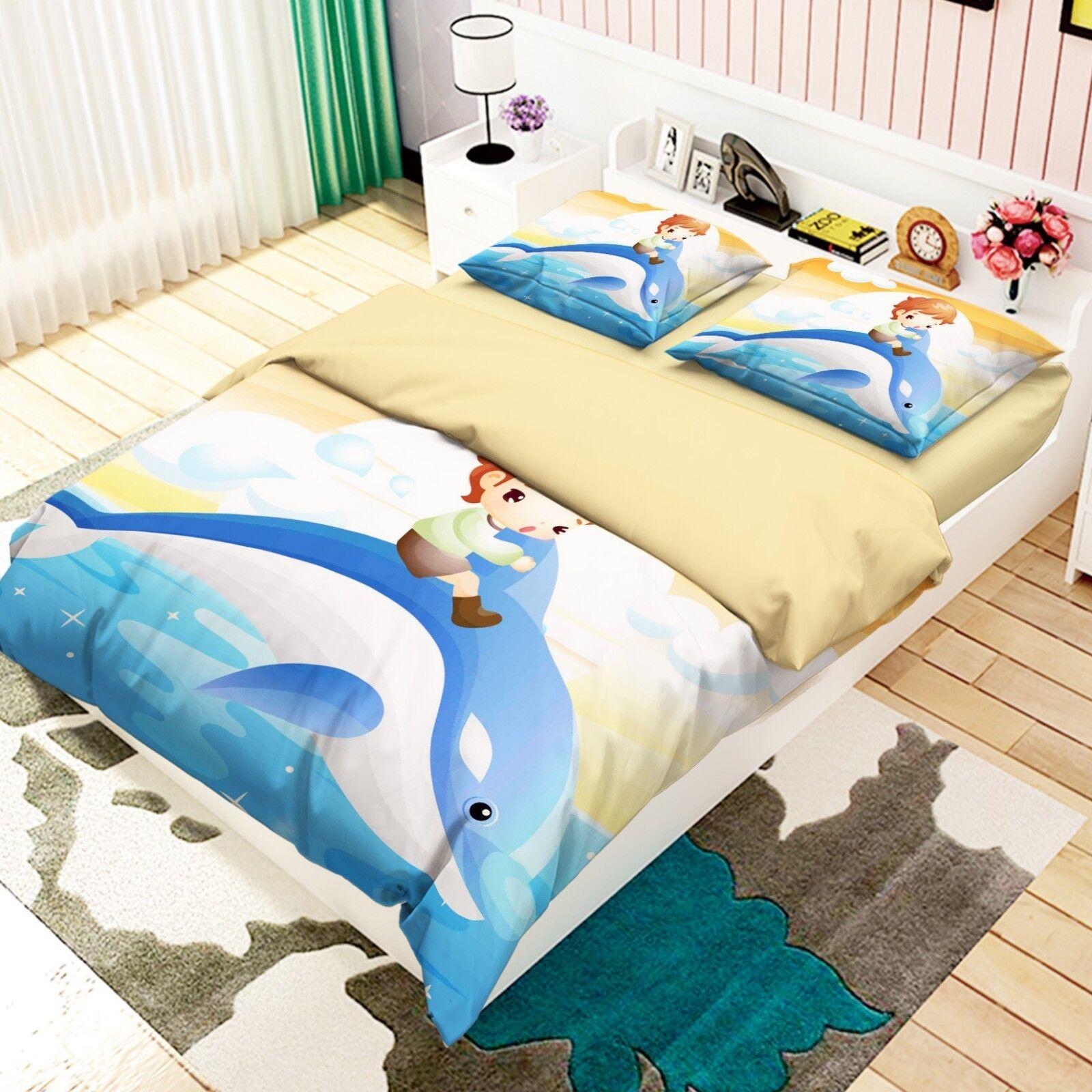 3D Sea Dolphin Kid 7 Bed Pillowcases Quilt Duvet Cover Set Single King UK Summer