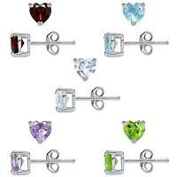 Natural Garnet, Topaz, Amethyst, Peridot 925 Sterling Silver Stud Earrings