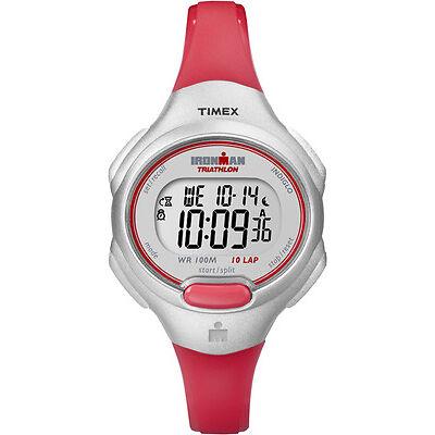 Timex Women's Ironman Triathlon   10 Lap Red Strap Silver-Tone Case   T5K741