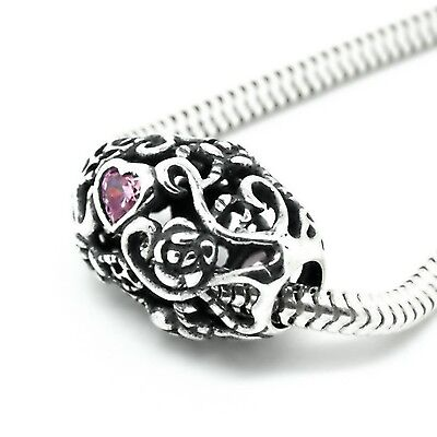 ROSE & HEART w. CZ-Openwork- Large solid 925 sterling silver European charm bead