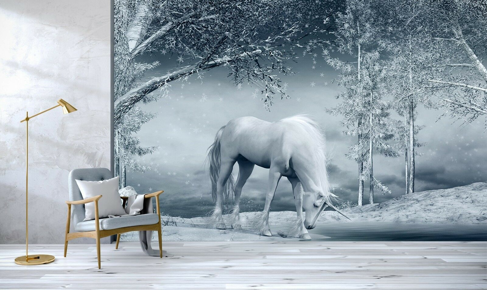 3D Snow Land Unicorn 89 Wallpaper Mural Print Wall Indoor Wallpaper Murals UK