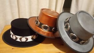 Details about BLACK PEWTER COPPER LEATHER HAND MADE STEVIE RAY VAUGHAN BLUES  GUITAR MUSO HAT b1e1c04e2ac