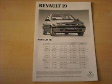 50671) Renault R 19 Phase II inkl. 16V 135PS Preise & Extras Prospekt 07/1994