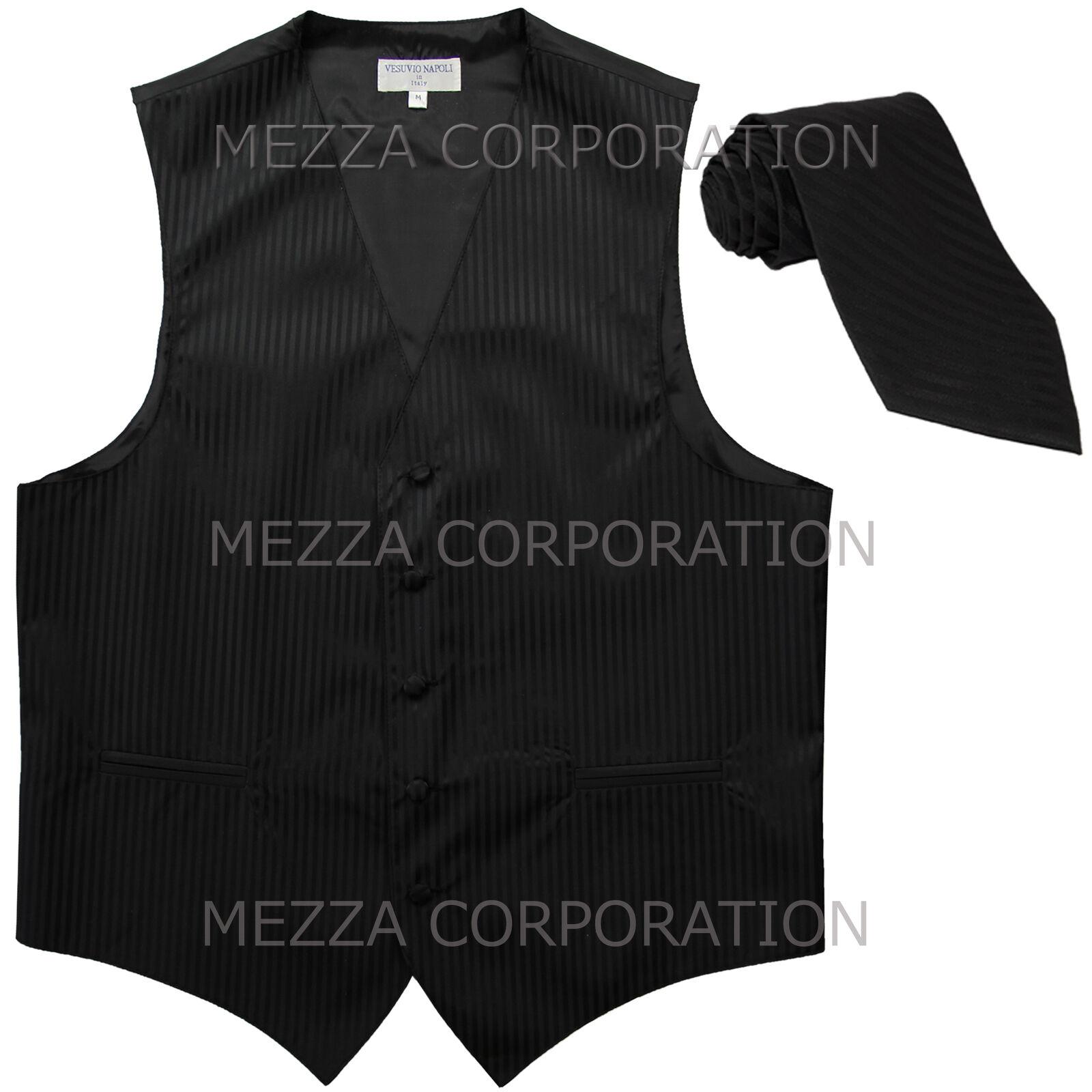 New Men's Tuxedo Vest Waistcoat Vertical Stripes Necktie prom party Black