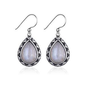 Vintage-925-Silver-Pear-Rainbow-Moonstone-Drop-Dangle-Hook-Handmade-Earrings