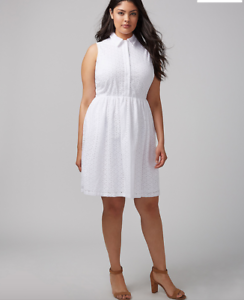 Lane-Bryant-White-Eyelet-Shirtdress-14-16-18-20-22-24-26-1x-2x-3x-4x-Dress