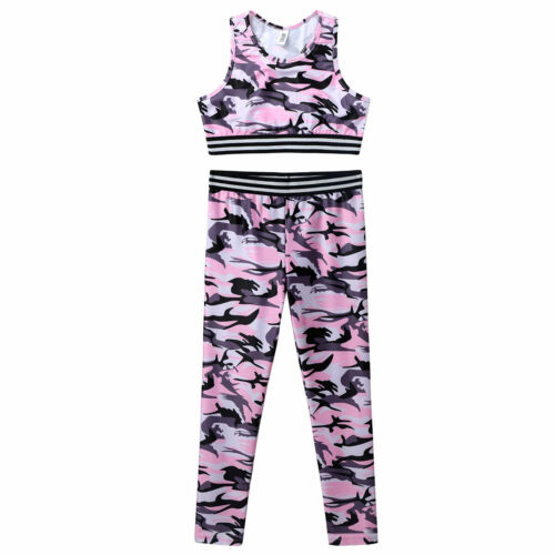 Kids Girls Sports Tracksuit Outfit Camouflage Running Yoga Tops Pants Clothes