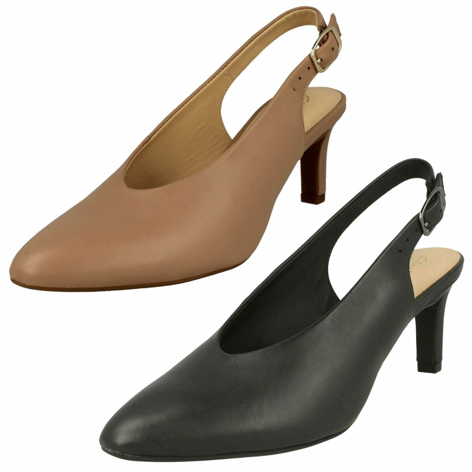Damen Clarks Leder Schuh Sling Calla Spitz Sling Schuh Absatz Schuhe Sandalen ... 781492