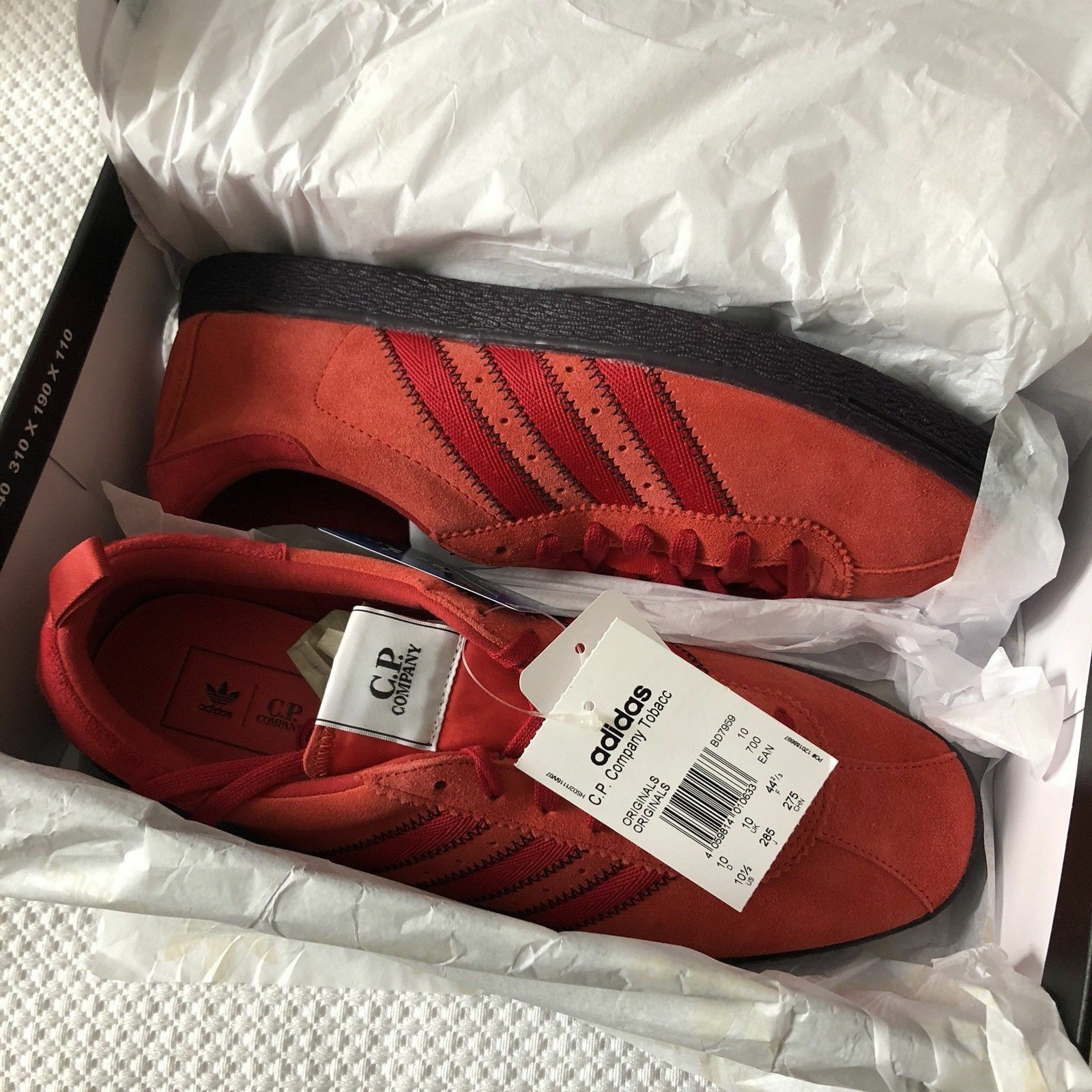 BRAND NEW ADIDAS ORIGINALS CP COMPANY TOBACCO rouge SUEDE TRAINERS BD7959 -10