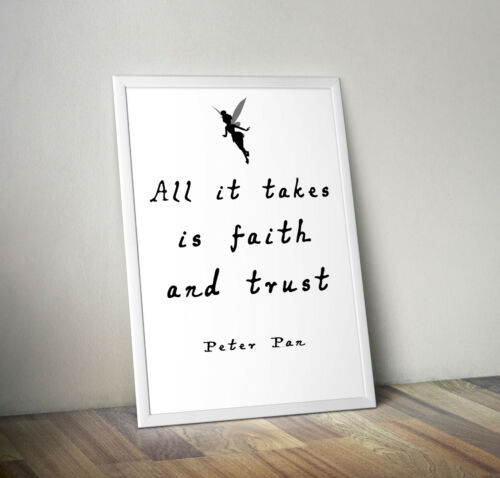 Disney inspired Peter Pan poster print wall art gift decor merchandise quote