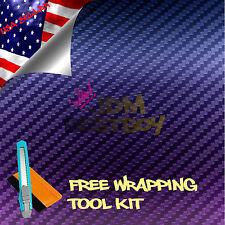 """*60""""x240"""" 3D CHAMELEON CARBON FIBER Purple Blue Vinyl Sticker Decal Air Release"""