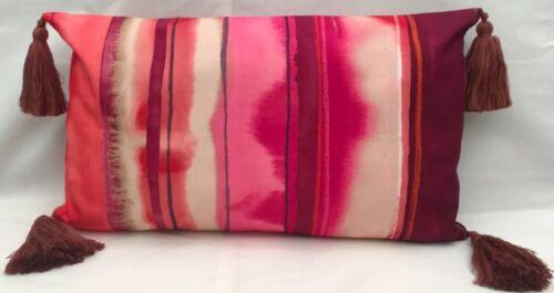 "12 x 20"" Harlequin Demeter Stripe Hot Pink Shell 120038 Cushion Cover Tassels"