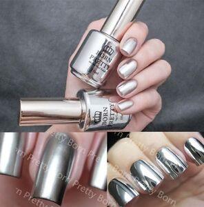 2pcs 15ml Silver Nail Polish Metallic Mirror Effect Metal