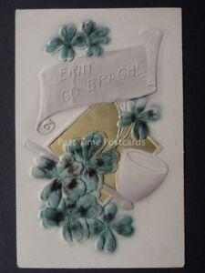 Embossed velvet irish greeting erin go bragh 4 leaf clover pip image is loading embossed velvet irish greeting erin go bragh 4 m4hsunfo