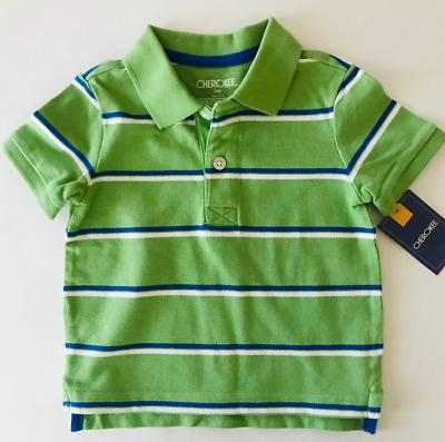 THE CHILDREN/'S PLACE BOY GREEN STRIPE L//S COTTON POLO SHIRT TOP 9-12M 12-18M