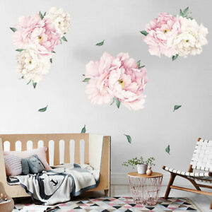 1-Pc-Peony-Blossom-Flowers-Wall-Art-Stickers-Floral-Decals-Mural-Room-Decor-PVC