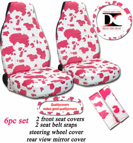 6 Piece Set White and Hot Pink Cow Seat Covers